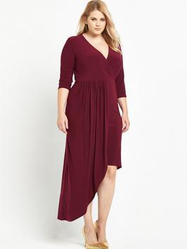 Asymmetric Wrap Front Dress Red - style: faux wrap/wrap; neckline: low v-neck; pattern: plain; waist detail: fitted waist; predominant colour: burgundy; occasions: casual, evening, occasion, creative work; length: just above the knee; fit: fitted at waist & bust; fibres: polyester/polyamide - stretch; hip detail: soft pleats at hip/draping at hip/flared at hip; sleeve length: 3/4 length; sleeve style: standard; pattern type: fabric; texture group: jersey - stretchy/drapey; season: a/w 2016; wardrobe: highlight