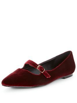 Florence Velvet Point Flat Shoes Burgundy - predominant colour: burgundy; occasions: casual, creative work; material: velvet; heel height: flat; toe: pointed toe; style: ballerinas / pumps; finish: plain; pattern: plain; season: a/w 2016; wardrobe: highlight