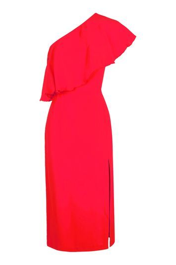 One Shoulder Frill Dress - length: below the knee; fit: tailored/fitted; pattern: plain; style: asymmetric (top); sleeve style: asymmetric sleeve; neckline: asymmetric; hip detail: draws attention to hips; predominant colour: true red; occasions: evening, occasion; fibres: viscose/rayon - 100%; shoulder detail: asymmetric shoulder; sleeve length: sleeveless; texture group: crepes; bust detail: bulky details at bust; pattern type: fabric; trends: glossy girl, pretty girl; season: a/w 2016; wardrobe: event