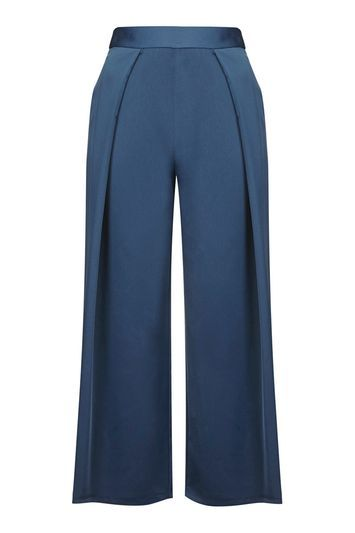 Cropped Wide Leg Trousers - length: standard; pattern: plain; waist: high rise; predominant colour: royal blue; occasions: evening; fibres: polyester/polyamide - 100%; fit: wide leg; pattern type: fabric; texture group: other - light to midweight; style: standard; pattern size: standard (bottom); season: s/s 2016