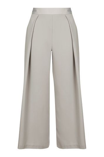 Cropped Wide Leg Trouser - length: standard; pattern: plain; waist: high rise; predominant colour: light grey; occasions: casual, creative work; fibres: polyester/polyamide - 100%; fit: wide leg; pattern type: fabric; texture group: other - light to midweight; style: standard; pattern size: standard (bottom); season: s/s 2016; wardrobe: basic