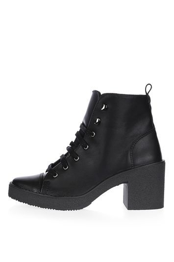 Basil Lace Up Ankle Boots - predominant colour: black; occasions: casual; material: faux leather; heel height: high; heel: block; toe: round toe; boot length: ankle boot; style: standard; finish: plain; pattern: plain; shoe detail: platform; season: a/w 2016; wardrobe: highlight