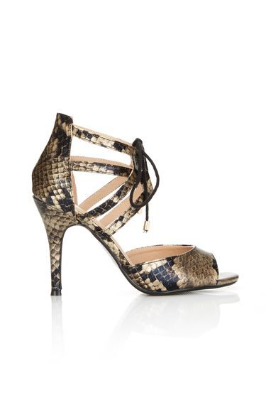 Snakeskin Heeled Ankle Lace Up Sandal - predominant colour: gold; secondary colour: black; occasions: evening, occasion; material: faux leather; heel height: high; ankle detail: ankle strap; heel: stiletto; toe: open toe/peeptoe; style: strappy; finish: plain; pattern: animal print; multicoloured: multicoloured; season: a/w 2016; wardrobe: event