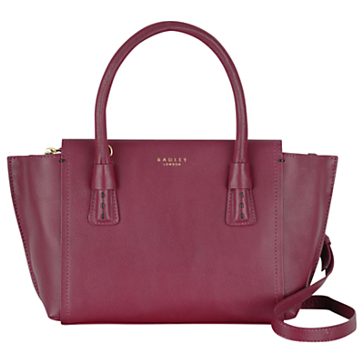 Wimbledon Small Multiway Leather Shoulder Bag - predominant colour: magenta; occasions: casual, work, creative work; type of pattern: standard; style: tote; length: shoulder (tucks under arm); size: standard; material: leather; pattern: plain; finish: plain; season: s/s 2016; wardrobe: highlight