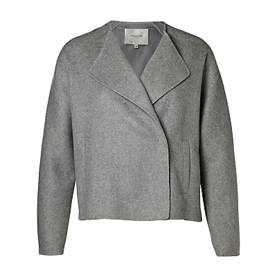 Adana Jacket, Grey - pattern: plain; style: boxy; collar: standard lapel/rever collar; predominant colour: mid grey; occasions: work, creative work; length: standard; fit: straight cut (boxy); fibres: wool - mix; sleeve length: long sleeve; sleeve style: standard; collar break: medium; pattern type: fabric; texture group: woven light midweight; season: a/w 2016