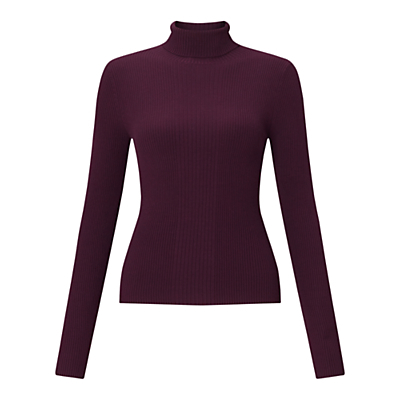 Miss Seflridge Ribbed Roll Neck Jumper - pattern: plain; neckline: roll neck; style: standard; predominant colour: purple; occasions: casual, work, creative work; length: standard; fibres: viscose/rayon - stretch; fit: slim fit; sleeve length: long sleeve; sleeve style: standard; texture group: knits/crochet; pattern type: knitted - fine stitch; season: a/w 2016; wardrobe: highlight
