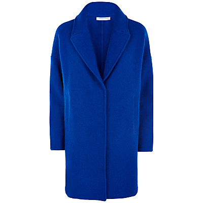 Petite Helios Coat, Blue - pattern: plain; style: single breasted; collar: standard lapel/rever collar; length: mid thigh; predominant colour: royal blue; occasions: casual, creative work; fit: straight cut (boxy); fibres: wool - mix; sleeve length: long sleeve; sleeve style: standard; collar break: medium; pattern type: fabric; texture group: woven bulky/heavy; season: a/w 2016; wardrobe: highlight