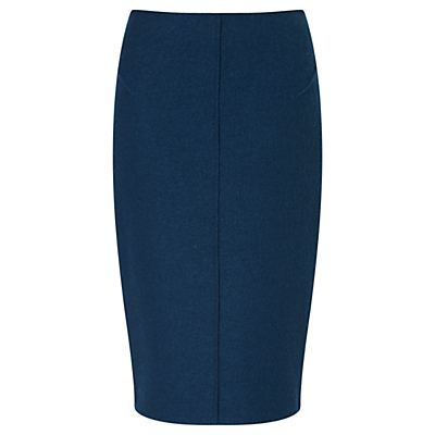 Boiled Wool Pencil Skirt, Petrol - pattern: plain; style: pencil; fit: tailored/fitted; waist: high rise; predominant colour: teal; occasions: work; length: on the knee; fibres: wool - mix; pattern type: fabric; texture group: woven light midweight; season: a/w 2016; wardrobe: highlight