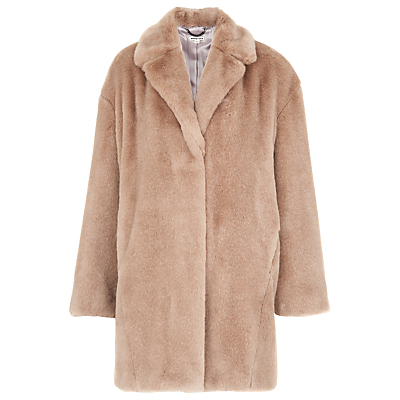 Faux Fur Cocoon Coat - pattern: plain; collar: standard lapel/rever collar; length: mid thigh; predominant colour: camel; fit: straight cut (boxy); fibres: acrylic - 100%; occasions: occasion; style: fur coat; sleeve length: long sleeve; sleeve style: standard; texture group: fur; collar break: medium; pattern type: fabric; season: a/w 2016; wardrobe: event