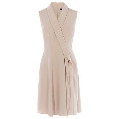 Sleeveless Draped Wrap Dress, Taupe - style: faux wrap/wrap; neckline: v-neck; fit: tailored/fitted; pattern: plain; sleeve style: sleeveless; predominant colour: blush; occasions: evening, occasion; length: on the knee; fibres: polyester/polyamide - 100%; sleeve length: sleeveless; texture group: sheer fabrics/chiffon/organza etc.; pattern type: fabric; season: a/w 2016; wardrobe: event