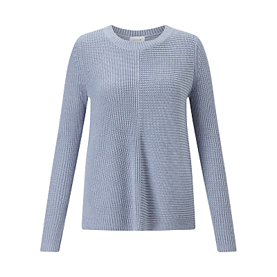 Half Ribbed Jumper - neckline: round neck; pattern: plain; style: standard; predominant colour: denim; occasions: casual, creative work; length: standard; fit: standard fit; sleeve length: long sleeve; sleeve style: standard; texture group: knits/crochet; pattern type: knitted - other; pattern size: standard; fibres: viscose/rayon - mix; season: a/w 2016; wardrobe: highlight; trends: chunky knits