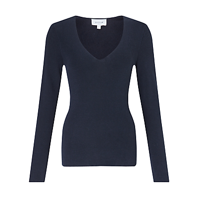 Silk Cotton V Neck Jumper - neckline: v-neck; pattern: plain; style: standard; predominant colour: navy; occasions: casual, work, creative work; length: standard; fibres: silk - mix; fit: slim fit; sleeve length: long sleeve; sleeve style: standard; texture group: knits/crochet; pattern type: knitted - fine stitch; pattern size: light/subtle; season: a/w 2016