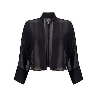 Chiffon Jacket, Black - pattern: plain; style: cropped; collar: round collar/collarless; predominant colour: black; occasions: evening, occasion; fit: straight cut (boxy); fibres: polyester/polyamide - 100%; sleeve length: 3/4 length; sleeve style: standard; texture group: sheer fabrics/chiffon/organza etc.; collar break: low/open; pattern type: fabric; length: cropped; season: a/w 2016; wardrobe: event
