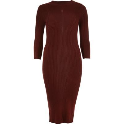 Womens Dark Red Ribbed Midi Dress - style: shirt; length: below the knee; fit: tight; pattern: plain; predominant colour: burgundy; occasions: evening, creative work; fibres: polyester/polyamide - 100%; neckline: crew; sleeve length: long sleeve; sleeve style: standard; pattern type: fabric; texture group: jersey - stretchy/drapey; season: a/w 2016; wardrobe: highlight
