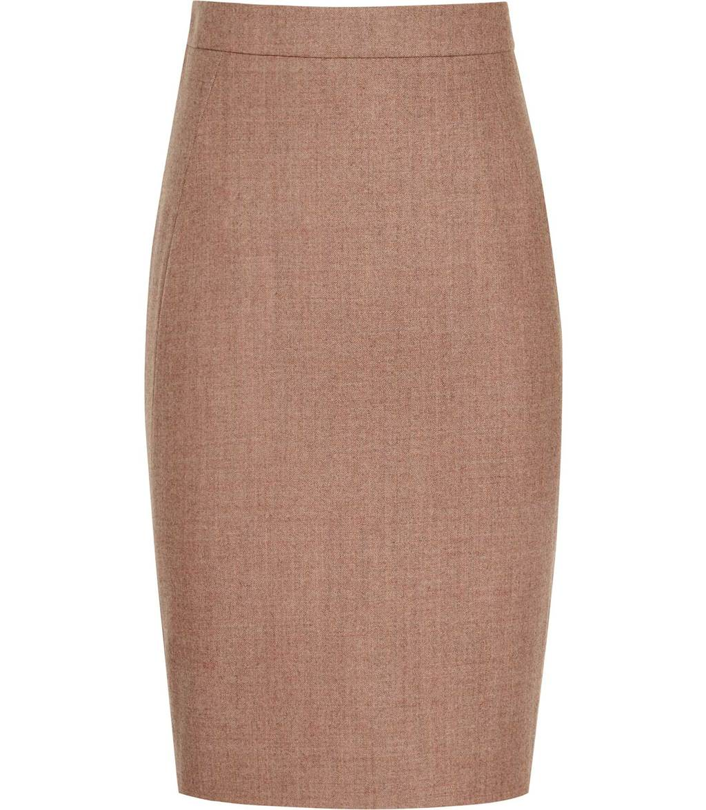 Hanako Skirt Womens Tailored Pencil Skirt In Brown - pattern: plain; style: pencil; fit: tailored/fitted; waist: mid/regular rise; predominant colour: camel; occasions: work; length: just above the knee; fibres: wool - stretch; pattern type: fabric; texture group: woven light midweight; wardrobe: basic; season: a/w 2016