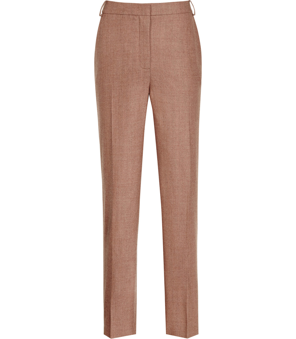 Hanako Trouser Womens Slim Leg Trousers In Brown - length: standard; pattern: plain; waist: high rise; predominant colour: tan; occasions: work; fibres: wool - stretch; fit: slim leg; pattern type: fabric; texture group: woven light midweight; style: standard; season: a/w 2016; wardrobe: highlight