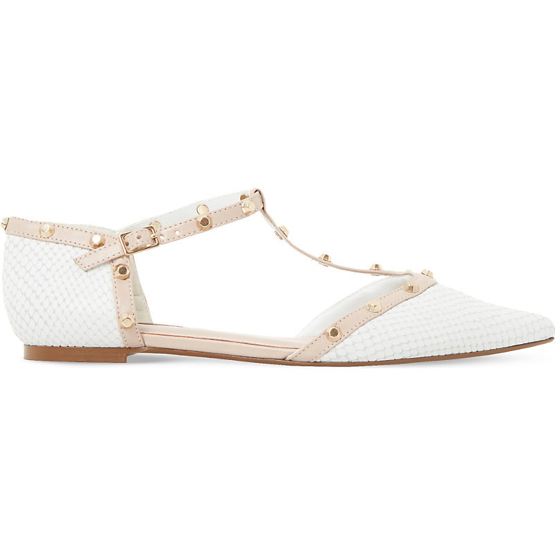 Heti Studded Leather Pointed Flats, Women's, Eur 38 / 5 Uk Women, White Reptile - predominant colour: white; occasions: casual, creative work; material: leather; heel height: flat; embellishment: studs; toe: pointed toe; style: ballerinas / pumps; finish: plain; pattern: plain; wardrobe: basic; season: a/w 2016