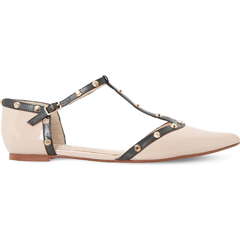 Heti Studded Leather Pointed Flats, Women's, Eur 39 / 6 Uk Women, Nude Patent - predominant colour: stone; occasions: casual, creative work; material: leather; heel height: flat; toe: pointed toe; style: ballerinas / pumps; finish: plain; pattern: colourblock; season: a/w 2016
