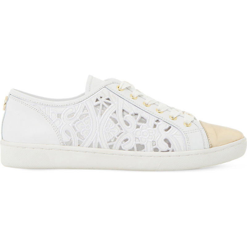 Elley Laser Cut Leather Trainer, Women's, Eur 37 / 4 Uk Women, White Leather - predominant colour: ivory/cream; occasions: casual; material: leather; heel height: flat; toe: round toe; style: trainers; finish: plain; pattern: plain; wardrobe: basic; season: a/w 2016