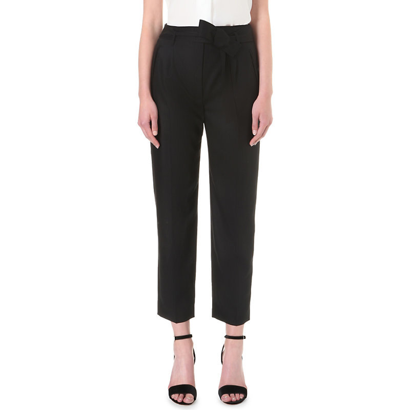 Holyholy Wool Trousers, Women's, Noir - pattern: plain; waist: mid/regular rise; predominant colour: black; occasions: evening, creative work; length: ankle length; fibres: wool - 100%; fit: straight leg; pattern type: fabric; texture group: woven light midweight; style: standard; pattern size: standard (bottom); wardrobe: basic; season: a/w 2016