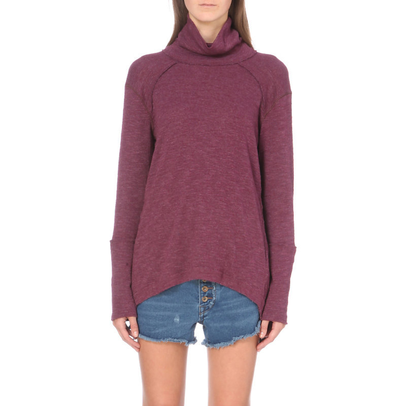 Oversized Knitted Turtleneck Jumper, Women's, Size: Small, Purple - pattern: plain; neckline: roll neck; style: standard; predominant colour: purple; occasions: casual; length: standard; fibres: polyester/polyamide - mix; fit: standard fit; sleeve length: long sleeve; sleeve style: standard; texture group: knits/crochet; pattern type: fabric; season: a/w 2016; wardrobe: highlight