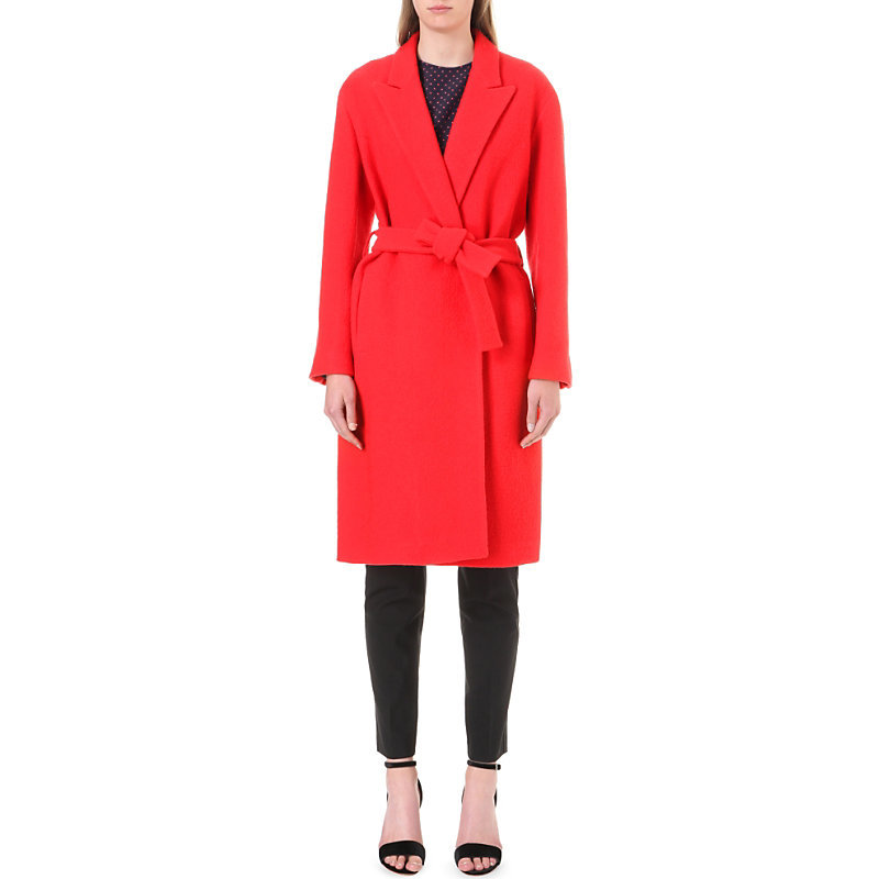 Morrison Textured Wool Coat, Women's, Rouge - pattern: plain; style: double breasted; length: on the knee; collar: standard lapel/rever collar; predominant colour: true red; occasions: work, creative work; fit: tailored/fitted; fibres: wool - 100%; waist detail: belted waist/tie at waist/drawstring; sleeve length: long sleeve; sleeve style: standard; collar break: medium; pattern type: fabric; texture group: woven bulky/heavy; season: a/w 2016; wardrobe: highlight