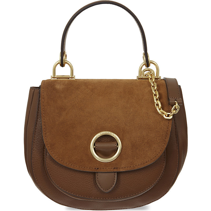 Isadore Leather Messenger Bag, Dk Caramel - predominant colour: chocolate brown; secondary colour: khaki; occasions: casual, creative work; type of pattern: standard; style: saddle; length: handle; size: standard; material: suede; pattern: plain; finish: plain; embellishment: chain/metal; season: a/w 2016; wardrobe: highlight
