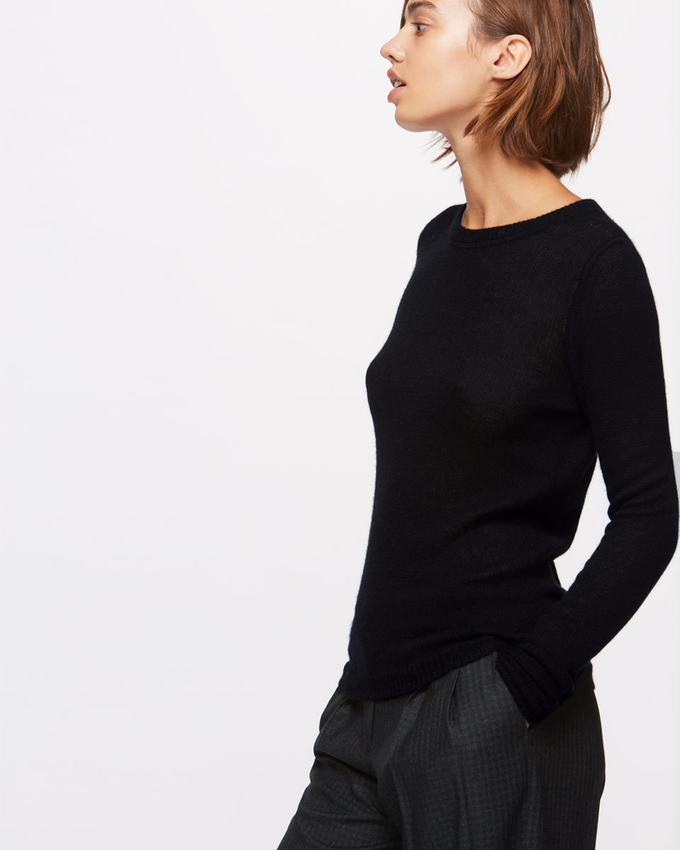 Cloud Cashmere Crew Neck Jumper - neckline: round neck; pattern: plain; predominant colour: black; occasions: casual, work, creative work; length: standard; style: top; fit: body skimming; fibres: cashmere - 100%; sleeve length: long sleeve; sleeve style: standard; texture group: knits/crochet; pattern type: knitted - fine stitch; wardrobe: basic; season: a/w 2016