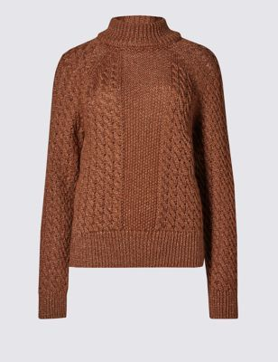 Long Sleeve Cute Copper Cable Jumper - neckline: roll neck; style: standard; pattern: cable knit; predominant colour: tan; occasions: casual; length: standard; fibres: acrylic - mix; fit: loose; sleeve length: long sleeve; sleeve style: standard; texture group: knits/crochet; pattern type: knitted - other; season: a/w 2016; wardrobe: highlight