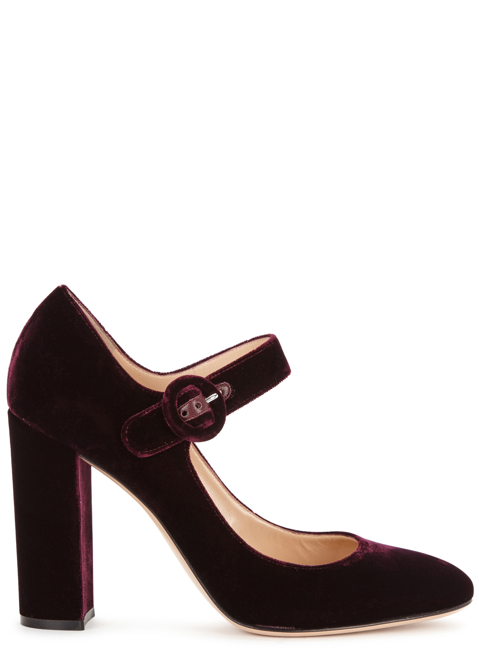 Lorraine Dark Purple Velvet Pumps - predominant colour: aubergine; occasions: evening; material: velvet; heel height: high; heel: block; toe: round toe; style: mary janes; finish: plain; pattern: plain; season: a/w 2016; wardrobe: event