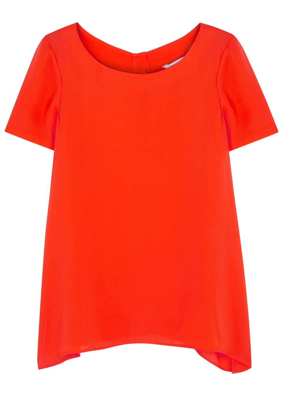 Maggy Orange Silk Top - neckline: round neck; pattern: plain; style: t-shirt; predominant colour: bright orange; occasions: casual, creative work; length: standard; fibres: silk - 100%; fit: straight cut; sleeve length: short sleeve; sleeve style: standard; texture group: crepes; pattern type: fabric; season: a/w 2016; wardrobe: highlight