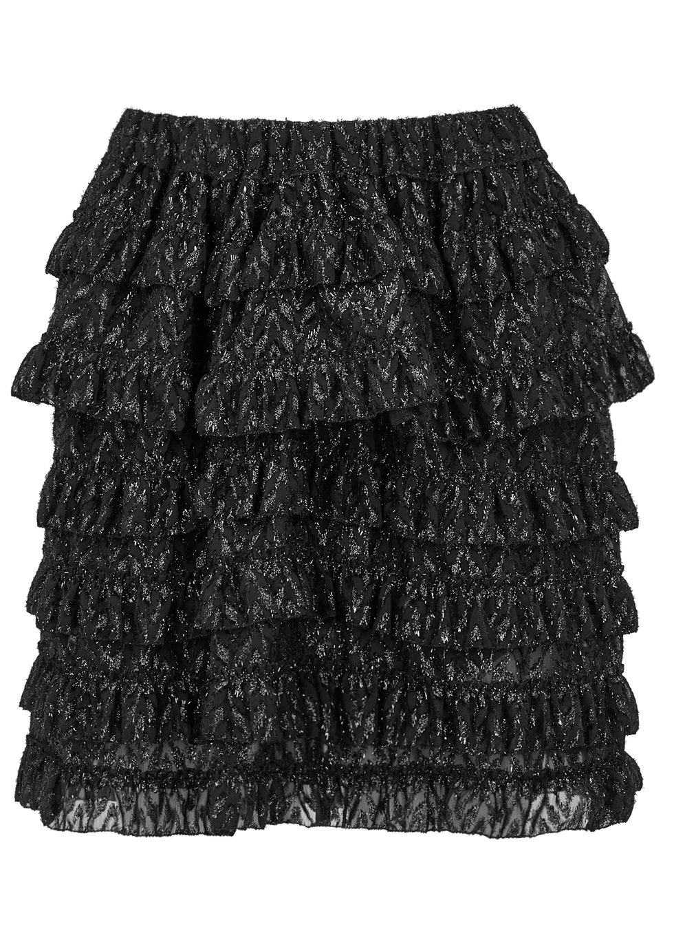 Blair Metallic Fil Coupé Mini Skirt - pattern: plain; fit: loose/voluminous; style: tiered; waist: high rise; predominant colour: black; occasions: casual, creative work; length: just above the knee; fibres: silk - 100%; hip detail: adds bulk at the hips; texture group: silky - light; pattern type: fabric; wardrobe: basic; season: a/w 2016