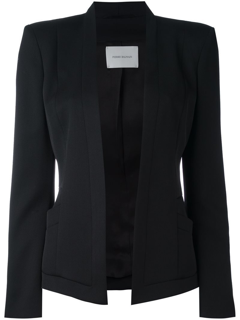 Structured Fitted Jacket, Women's, Black - pattern: plain; style: single breasted blazer; collar: round collar/collarless; predominant colour: black; occasions: work; length: standard; fit: tailored/fitted; fibres: wool - mix; sleeve length: long sleeve; sleeve style: standard; collar break: low/open; pattern type: fabric; texture group: woven light midweight; wardrobe: investment; season: a/w 2016