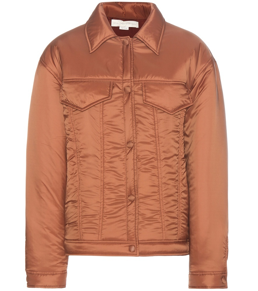 Padded Jacket - pattern: plain; fit: slim fit; style: bomber; predominant colour: camel; occasions: casual; length: standard; fibres: polyester/polyamide - 100%; collar: shirt collar/peter pan/zip with opening; sleeve length: long sleeve; sleeve style: standard; texture group: structured shiny - satin/tafetta/silk etc.; collar break: high; pattern type: fabric; wardrobe: basic; season: a/w 2016