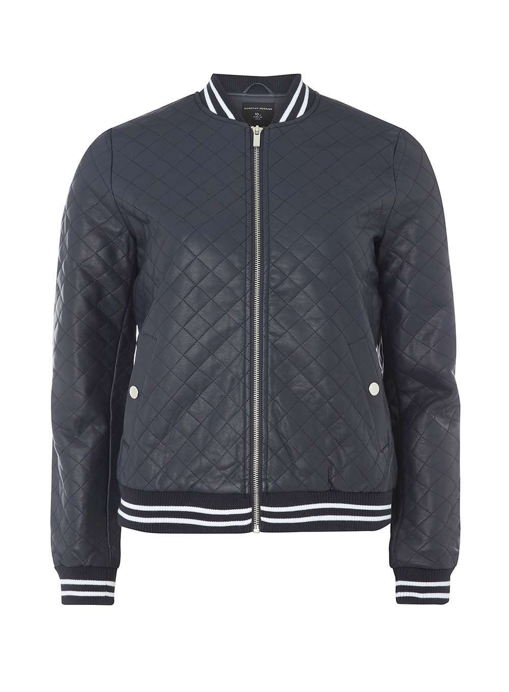 Womens Stripe Rib Faux Leather Bomber Jacket Blue - pattern: plain; collar: round collar/collarless; fit: slim fit; style: bomber; secondary colour: white; predominant colour: navy; occasions: casual; length: standard; fibres: polyester/polyamide - 100%; sleeve length: long sleeve; sleeve style: standard; texture group: leather; collar break: high; pattern type: fabric; multicoloured: multicoloured; wardrobe: basic; season: a/w 2016