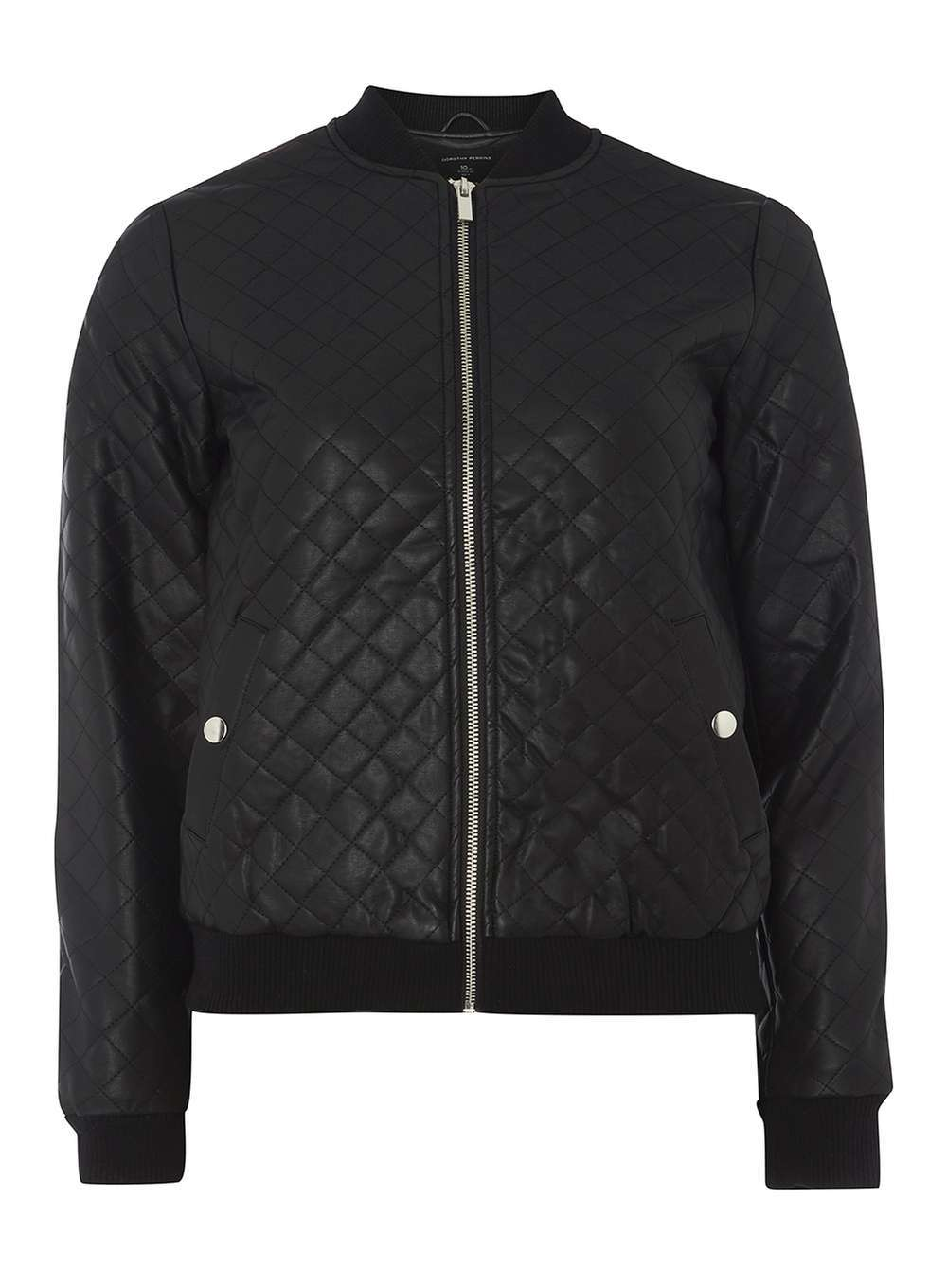 Womens Black Faux Leather Bomber Jacket Black - pattern: plain; collar: round collar/collarless; fit: slim fit; style: bomber; predominant colour: black; occasions: casual; length: standard; fibres: polyester/polyamide - 100%; sleeve length: long sleeve; sleeve style: standard; texture group: leather; collar break: high; pattern type: fabric; wardrobe: basic; season: a/w 2016