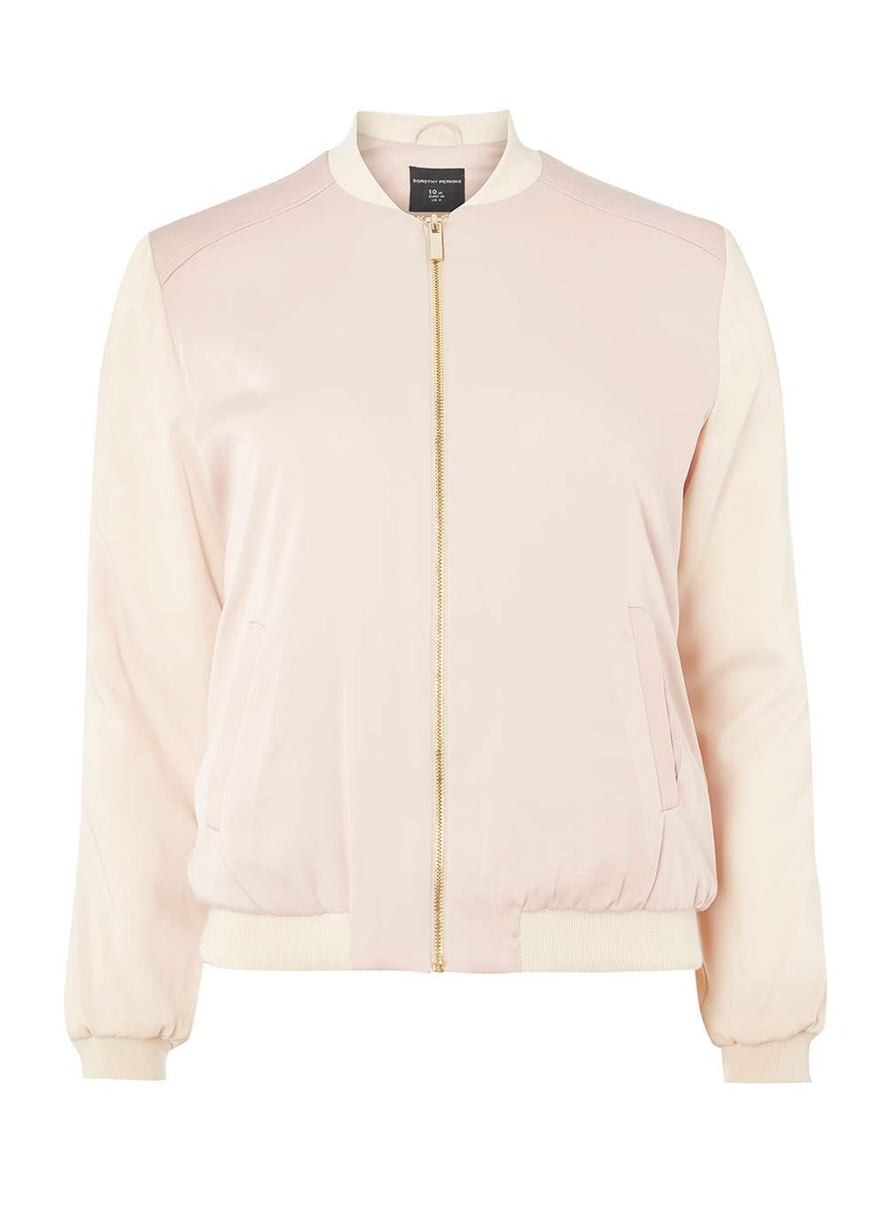 Womens Pink Colourblock Bomber Jacket Pink - pattern: plain; collar: round collar/collarless; style: bomber; predominant colour: blush; occasions: casual; length: standard; fit: tailored/fitted; fibres: polyester/polyamide - stretch; sleeve length: long sleeve; sleeve style: standard; collar break: high; pattern type: fabric; texture group: woven light midweight; wardrobe: basic; season: a/w 2016