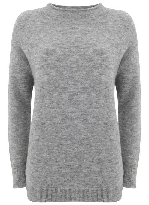 Grey Marl Funnel Neck Boxy Knit - pattern: plain; style: standard; predominant colour: mid grey; occasions: casual; length: standard; fibres: wool - mix; fit: slim fit; neckline: crew; sleeve length: long sleeve; sleeve style: standard; texture group: knits/crochet; pattern type: knitted - fine stitch; wardrobe: basic; season: a/w 2016