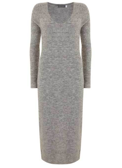Mid Grey V Neck Knitted Midi Dress - style: jumper dress; length: calf length; neckline: v-neck; pattern: plain; predominant colour: mid grey; occasions: casual; fit: body skimming; fibres: nylon - mix; sleeve length: long sleeve; sleeve style: standard; pattern type: fabric; pattern size: big & busy; texture group: jersey - stretchy/drapey; wardrobe: basic; season: a/w 2016