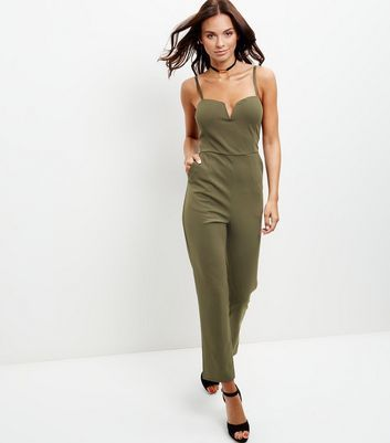 Khaki Notch Neck Jumpsuit - sleeve style: spaghetti straps; pattern: plain; neckline: sweetheart; predominant colour: khaki; occasions: casual; length: ankle length; fit: body skimming; fibres: polyester/polyamide - stretch; sleeve length: sleeveless; style: jumpsuit; pattern type: fabric; texture group: jersey - stretchy/drapey; season: a/w 2016; wardrobe: highlight