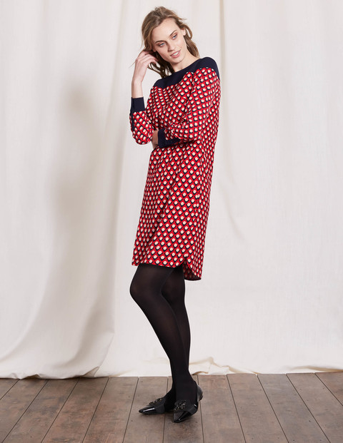Ursula Dress Red Triangle Geo Women, Red Triangle Geo - style: shift; neckline: off the shoulder; secondary colour: white; predominant colour: true red; occasions: casual; length: just above the knee; fit: body skimming; fibres: polyester/polyamide - 100%; sleeve length: long sleeve; sleeve style: standard; pattern type: fabric; pattern: patterned/print; texture group: jersey - stretchy/drapey; multicoloured: multicoloured; season: a/w 2016; wardrobe: highlight