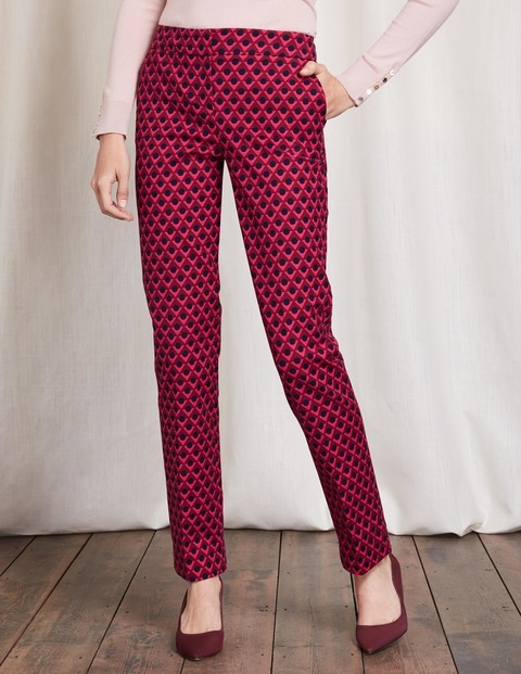 Richmond Trousers Triangle Geo Women, Triangle Geo - length: standard; waist: mid/regular rise; secondary colour: black; occasions: evening, creative work; fibres: cotton - stretch; fit: straight leg; pattern type: fabric; pattern: patterned/print; texture group: woven light midweight; style: standard; predominant colour: raspberry; season: a/w 2016; wardrobe: highlight
