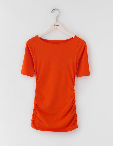 Ruched Top Tulip Women, Tulip - neckline: round neck; pattern: plain; predominant colour: bright orange; occasions: casual; length: standard; style: top; fibres: cotton - 100%; fit: body skimming; sleeve length: short sleeve; sleeve style: standard; pattern type: fabric; texture group: jersey - stretchy/drapey; season: a/w 2016; wardrobe: highlight