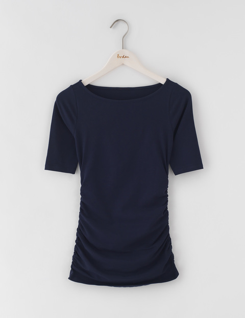 Ruched Top Navy Women, Navy - neckline: round neck; pattern: plain; style: t-shirt; predominant colour: navy; occasions: casual; length: standard; fibres: cotton - stretch; fit: body skimming; sleeve length: short sleeve; sleeve style: standard; pattern type: fabric; texture group: jersey - stretchy/drapey; wardrobe: basic; season: a/w 2016