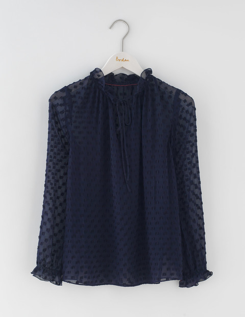 Ruffle Neck Top Navy & Black Women, Navy & Black - neckline: high neck; predominant colour: navy; occasions: work, creative work; length: standard; style: top; fibres: silk - 100%; fit: loose; sleeve length: long sleeve; sleeve style: standard; texture group: silky - light; pattern type: fabric; pattern: patterned/print; season: a/w 2016; wardrobe: highlight