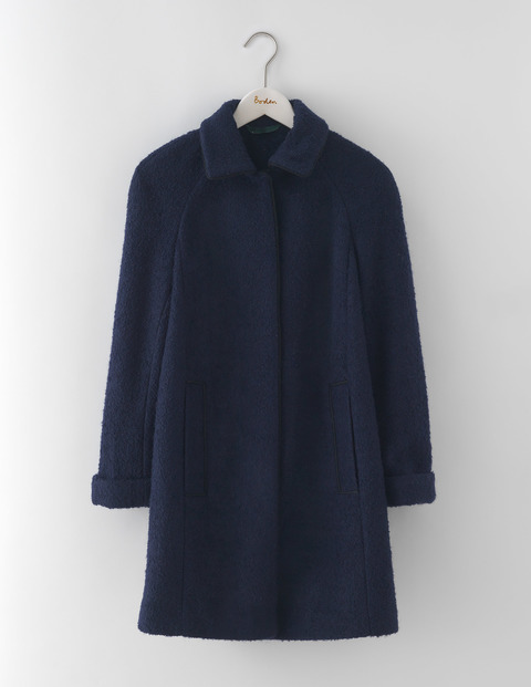 Bridget Bouclé Coat Navy Women, Navy - pattern: plain; length: below the bottom; style: single breasted; predominant colour: navy; occasions: casual; fit: straight cut (boxy); fibres: polyester/polyamide - mix; collar: shirt collar/peter pan/zip with opening; sleeve length: long sleeve; sleeve style: standard; collar break: high; pattern type: fabric; texture group: woven bulky/heavy; wardrobe: basic; season: a/w 2016