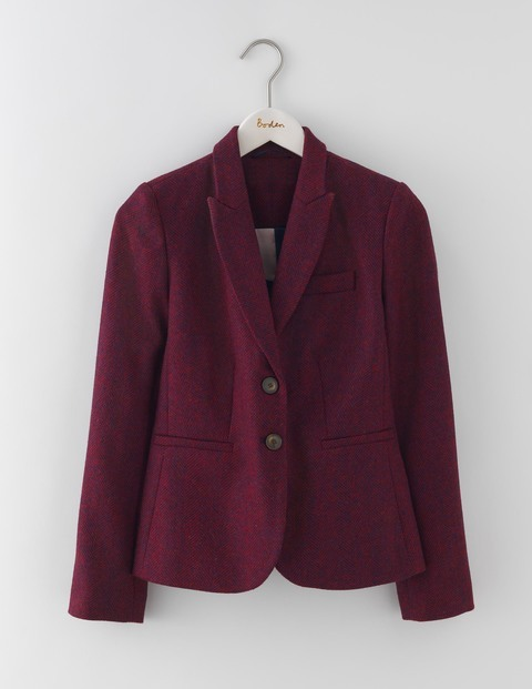 Elizabeth British Tweed Blazer Red/Navy Herringbone Women, Red/Navy Herringbone - style: single breasted blazer; collar: standard lapel/rever collar; pattern: herringbone/tweed; predominant colour: navy; occasions: casual, creative work; length: standard; fit: tailored/fitted; fibres: wool - 100%; sleeve length: long sleeve; sleeve style: standard; collar break: medium; pattern type: fabric; texture group: tweed - light/midweight; pattern size: big & busy (top); multicoloured: multicoloured; season: a/w 2016