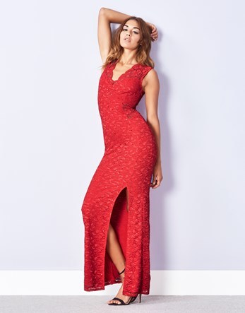 Scalloped Sequin Split Maxi Dress - neckline: low v-neck; fit: loose; pattern: plain; sleeve style: sleeveless; style: maxi dress; length: ankle length; hip detail: draws attention to hips; predominant colour: true red; occasions: evening; fibres: polyester/polyamide - stretch; sleeve length: sleeveless; texture group: jersey - clingy; pattern type: fabric; embellishment: sequins; season: a/w 2016; wardrobe: event