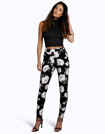 Floral Skinny Trousers - length: standard; waist: high rise; secondary colour: white; predominant colour: black; occasions: casual, creative work; fibres: polyester/polyamide - stretch; fit: skinny/tight leg; pattern type: fabric; pattern: florals; texture group: woven light midweight; style: standard; pattern size: big & busy (bottom); season: a/w 2016