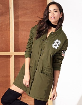 Longline Bomber Jacket - collar: round collar/collarless; length: below the bottom; fit: slim fit; style: bomber; predominant colour: khaki; secondary colour: black; occasions: casual; fibres: polyester/polyamide - 100%; sleeve length: long sleeve; sleeve style: standard; collar break: high; pattern type: fabric; pattern: patterned/print; texture group: woven light midweight; season: a/w 2016; trends: military